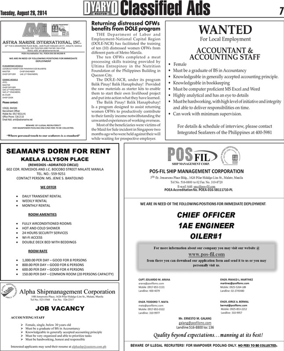 Classified Ads - DYARYO NGAYON